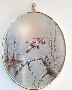 VTG Mallard Ducks Print in Oval Frame with Hanger